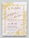 与手拉的花卉模板collecti的婚姻的请帖 向量例证