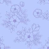 与手拉的花和叶子的无缝的轻的淡紫色样式 免版税库存照片
