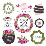 与手拉的花的婚礼汇集和 图库摄影
