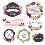 与手拉的花的婚礼汇集和 免版税库存照片
