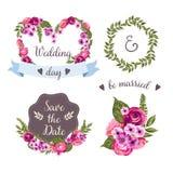 与手拉的花的婚礼汇集 免版税图库摄影