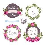 与手拉的花的婚礼汇集 库存图片