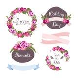 与手拉的花的婚礼汇集 库存照片