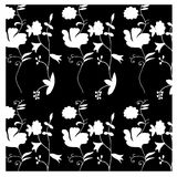 与手拉的花的White&Black无缝的样式 免版税图库摄影