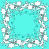与手拉的花黄水仙的花卉方形的装饰品边界 库存例证