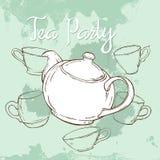 与手拉的茶壶和杯子的薄荷的茶会海报 免版税库存照片