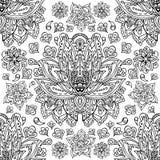 与手拉的莲花的花卉无缝的样式 装饰抽象花卉单色荷花样式 免版税库存照片