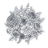 与手拉的菊花花的传染媒介花束 免版税库存图片