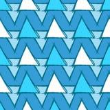 与手拉的蓝色三角的无缝的样式 免版税库存图片