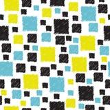 与手拉的蓝色,黄色和黑摘要的无缝的样式 图库摄影