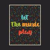 与手拉的词的音乐背景让音乐戏剧和不同的音乐标志 免版税库存图片