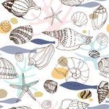 与手拉的贝壳的海洋抽象无缝的样式 库存例证