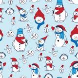 与手拉的逗人喜爱的雪人的传染媒介无缝的样式 美好的圣诞节设计,为印刷品和样式完善 库存图片
