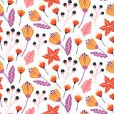 与手拉的野花、叶子和草本的无缝的花卉样式 库存例证