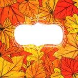 与手拉的金黄叶子的秋天框架 向量 免版税库存照片
