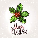 与手拉的霍莉和印刷术的圣诞卡 免版税库存照片