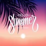 与手拉的题字你好夏天、日落和棕榈叶的夏令时热带背景 库存图片