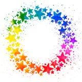 与手拉的水彩五颜六色的星的圈子构成 免版税库存照片