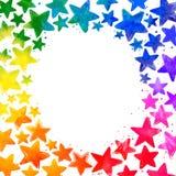 与手拉的水彩五颜六色的星的框架 库存照片