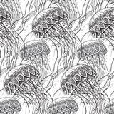 与手拉的水母的传染媒介无缝的样式 库存图片