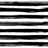 与手拉的黑白条纹的无缝的样式 免版税库存照片