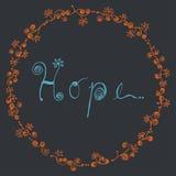 与手拉花卉圈子的框架的抽象希望字线艺术|在黑暗的背景的蓝色消息装饰 免版税库存照片