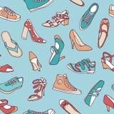 与手拉,五颜六色的鞋子的无缝的样式 皇族释放例证