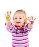与手指的儿童绘画 免版税库存图片