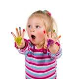 与手指的儿童绘画 免版税库存照片