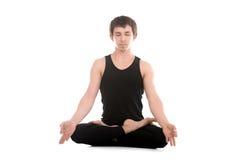 与手指的莲花姿势在瑜伽的姿态奇恩角Mudra 免版税库存图片