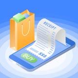 与手机的网上购买票据 平的传染媒介isometri 免版税库存图片