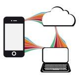 与手机的通讯技术例证 免版税图库摄影