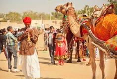 与手机的骆驼车手 免版税库存照片