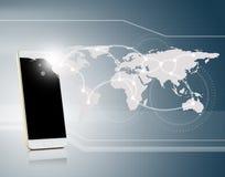 与手机连接网络的通讯技术 免版税库存照片