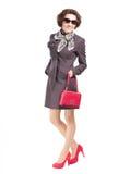与手袋的美好的时装模特儿 免版税库存图片