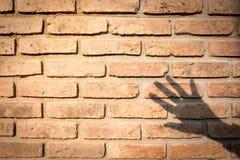 与手阴影的橙色棕色老砖墙纹理 设计的概念背景 免版税库存图片