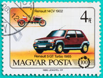 与打印的邮票在匈牙利显示汽车 免版税库存图片