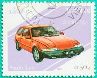 与打印的邮票在老挝显示汽车 图库摄影