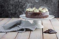 与打好的奶油的Sacher蛋糕 库存图片
