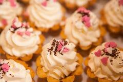 与打好的白色软的奶油的微型支持的蛋糕与桃红色装饰,巧克力油炸马铃薯片 免版税图库摄影