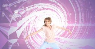 与打旋的发光的光的妇女跳舞 库存照片