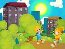 与打网球在公园-美好的天的孩子的动画片场面 图库摄影