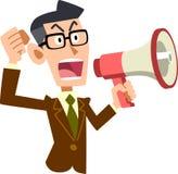 与扩音器的商人沟通的观点 库存例证