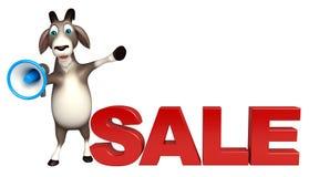 与扩音器的逗人喜爱的山羊漫画人物和销售签字 免版税图库摄影