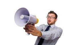 与扩音器的年轻商人 免版税库存照片