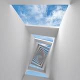 与扭转的走廊和天空的抽象3d背景 免版税库存图片