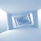 与扭转的走廊的抽象蓝色3d背景 库存照片