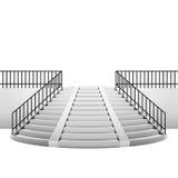 与扶手栏杆的圆楼梯在白色背景 向量例证