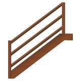 与扶手栏杆的木楼梯和步,在白色背景的现实传染媒介 库存例证