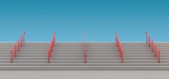 与扶手栏杆的楼梯对无处 库存例证